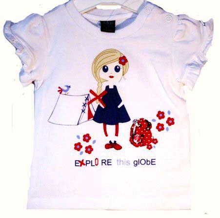 Monísima camiseta niña de verano en blanco con ilustración infantil - Polos y Camisetas Niño y Niña hasta los 4 Años - Mundo Kiriko