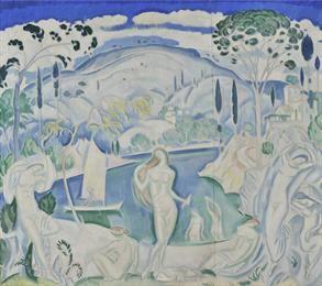 Φιλική Εκτύπωση Παρθένης Κωνσταντίνος (1878/1879 - 1967) Λουόμενες, πριν το 1919 Λάδι σε μουσαμά , 114 x 130 εκ. Δωρεά Σοφίας Παρθένη , Αρ. έργου: Π.6504