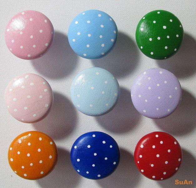 Möbelgriffe - Möbelknopf Möbelknauf Punkte Wunschfarbe - ein Designerstück von SuAn-Bilder bei DaWanda