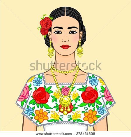 Beautiful Mexican woman in a national clothes. Isolated on a beige background.