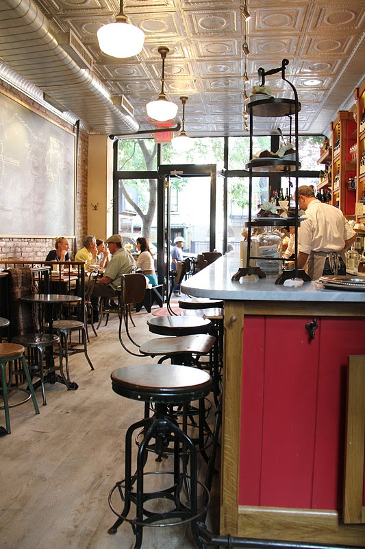 Buvette Gastroteque NYC Greenwich Village. Awesome stools, and I've always been a sucker for tin ceilings