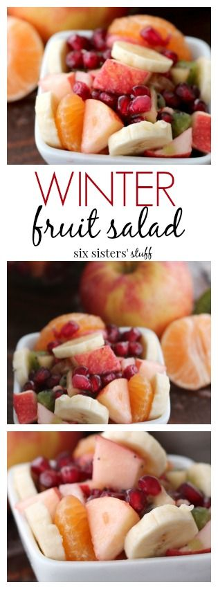 Winter Fruit Salad from Six Sisters' Stuff | This salad is so fresh, tastes amazing and is so easy to make! These fruits go so well together and are the perfect idea for breakfast, snack or a side dish to any winter meal.