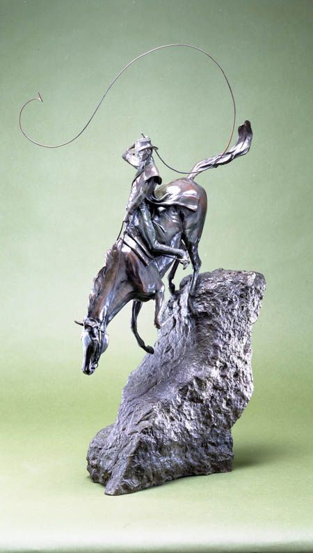 This unusual bronze equestrian sculpture is inspired by the epic poem The Man from Snowy River, by Banjo Patterson, the Australian poet. The sculpture depicts the intrepid determination of horse and rider to round up the herd of brumbies kidnapped by the wild stallion. A romantic subject, the treatment of which, I am happy to confess, shows the influence of Remington. An edition of nine.