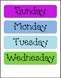 ** Great Calendar set up & FREE Days of the Week, Months of the Year templates
