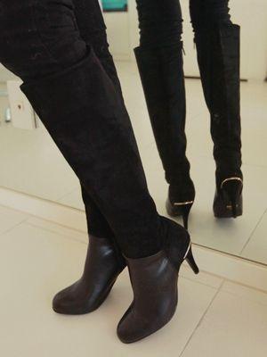 Korea feminine clothing Store [SOIR] Chocolate Boots / Size : 225-250 / Price : 74.82 USD #soir #feminine #dailylook #lovely #honeymoonlook #shoes #boots