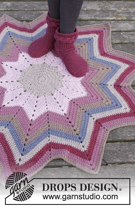 Starlet Rose Rug By DROPS Design - Free Crochet Pattern - (ravelry)* ༺✿ƬⱤღ  https://www.pinterest.com/teretegui/✿༻
