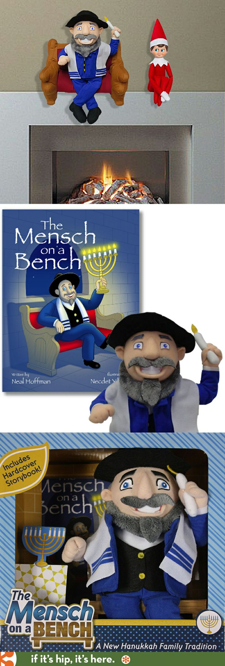 "Mensch On A Bench. He's not as magical as the elf so kids can play with him and they can be in charge of putting him in different ""scenes""."