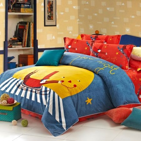 Denim Blue Orange and Yellow Boys Skateboard Print Sport Themed Hipster Style Unique 100% Cotton Full, Queen Size Bedding Sets