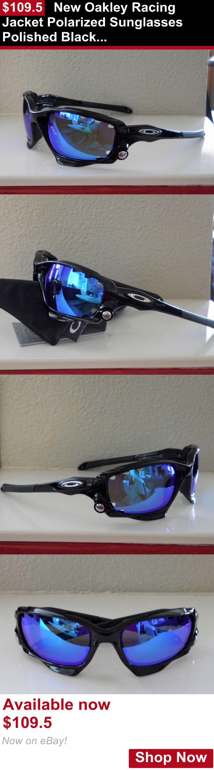 Unisex accessories: New Oakley Racing Jacket Polarized Sunglasses Polished Black / Blue Vented Lens BUY IT NOW ONLY: $109.5