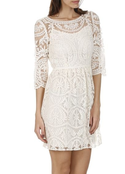 Robe en dentelle Blanc by NAF NAF