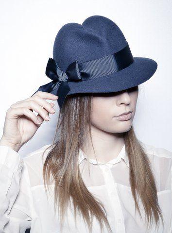 Fedora, blue trilby hat