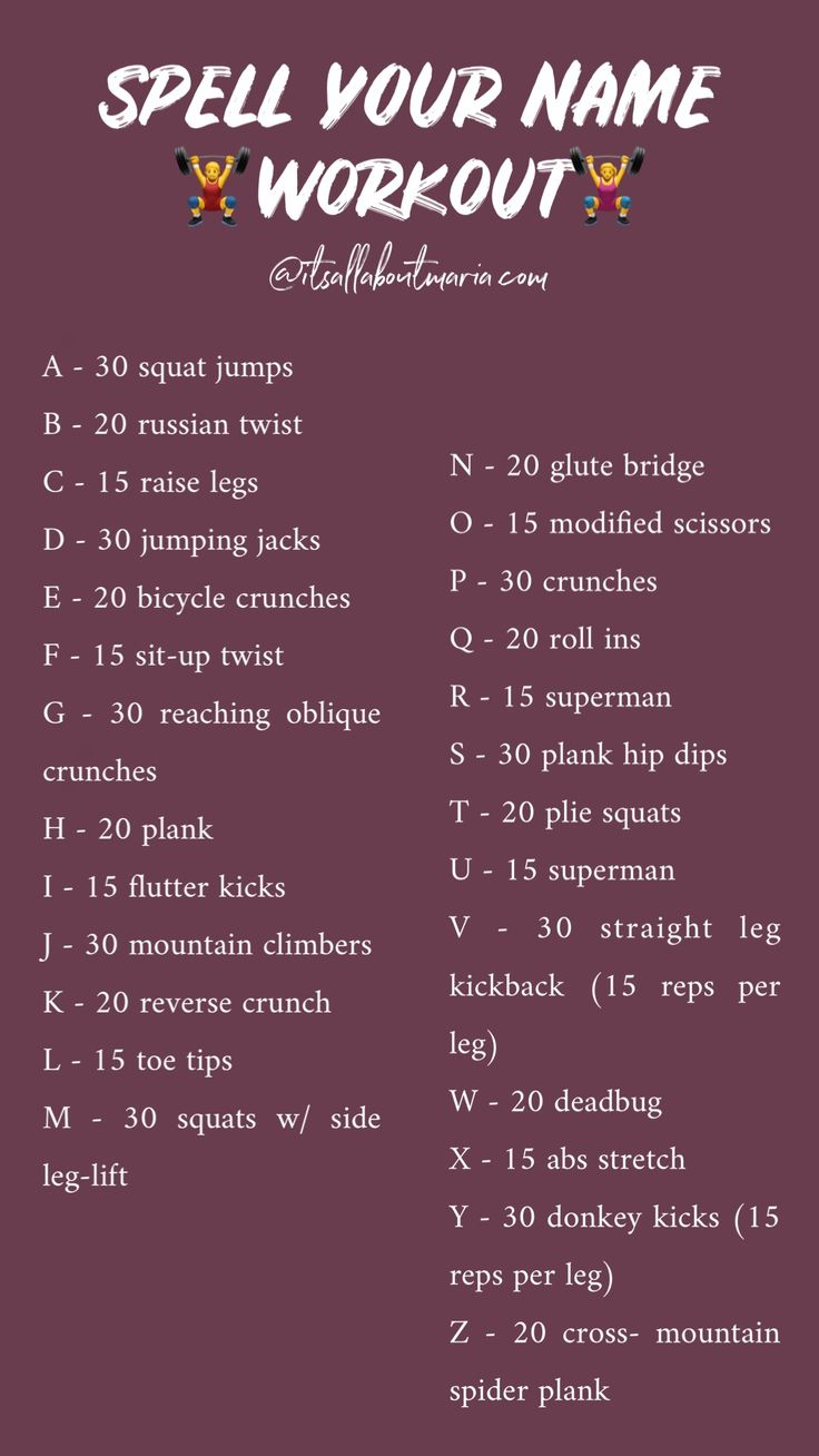 I Dare You To Spell Out Your Name And Do The Following Workouts Goodluck Spell Your Name Workout Plank Hip Dips Oblique Crunches