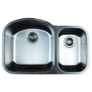 Blanco Stellar Undermount Stainless Steel 32 in. 1.6 Double Bowl Kitchen Sink 441022 at The Home Depot - Mobile