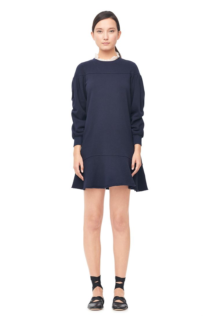 A flared hem and full puffed sleeves let our LA Vie Fleece Drop Waist Dress embody the femme-athletic trend.