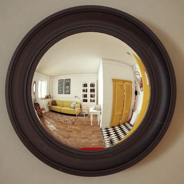 The final apartment in this roundup, as seen here through a fisheye mirror, also comes in at 37 square meters (398 square feet).