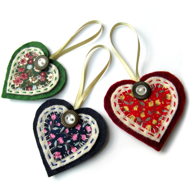 3x Christmas Heart Decorations - Tree Decoration £10.00