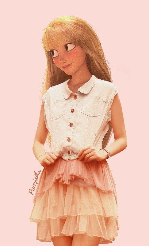Here is Rapunzel rocking a fringe. | This Is What Disney Characters Would Look Like In The Modern World