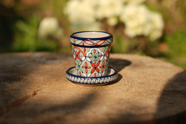 Mexican Hand Painted mini Flower Pot with Tray