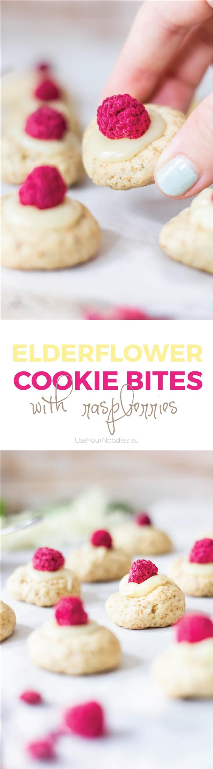 Buttery elderflower cookies topped with rose water white chocolate cream and freeze-dried raspberries. Perfect little fancy bites!