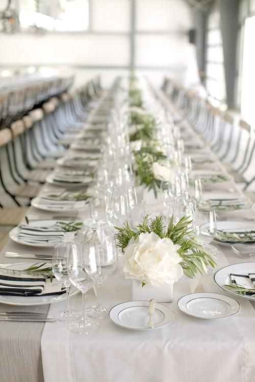 Go with classic white blooms with a touch of fresh for Simple wedding reception table decorations