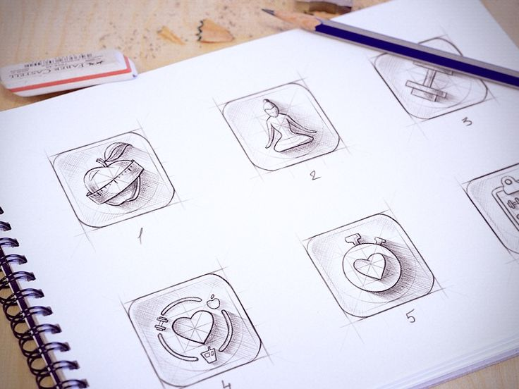 Sketches for iOS icon by Cuberto (St. Petersburg, Russia)