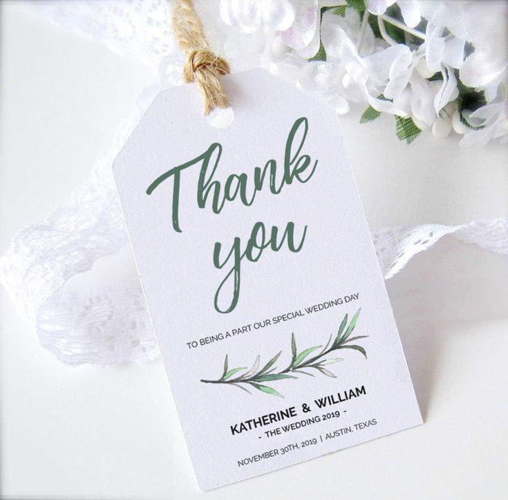 Greenery Wedding Favors Tags Printable Template Green Thank Etsy Wedding Favor Tags Printable Wedding Favor Tags Wedding Gift Tags