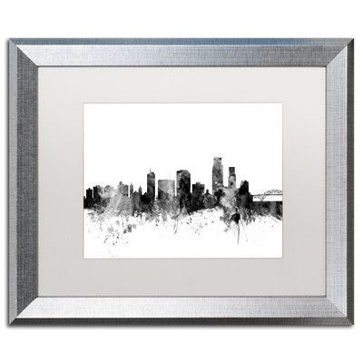 "Trademark Art ""Corpus Christie TX Skyline B&W"" by Michael Tompsett Framed Graphic Art Size: 16"" H x 20"" W x 0.5"" D"