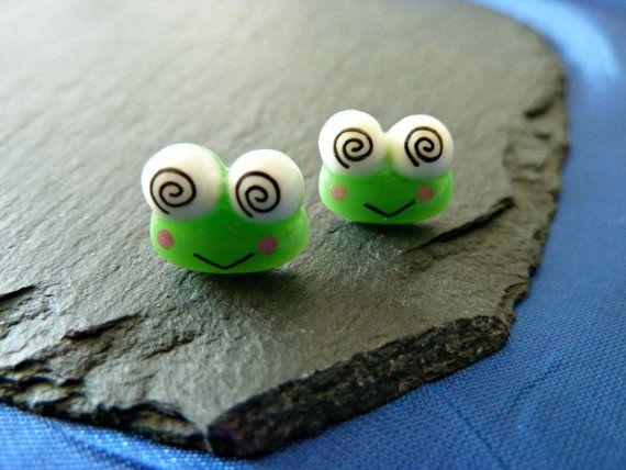 99p Handmade earrings green frog Keroppi frog by KelwayCraftsYorkshir