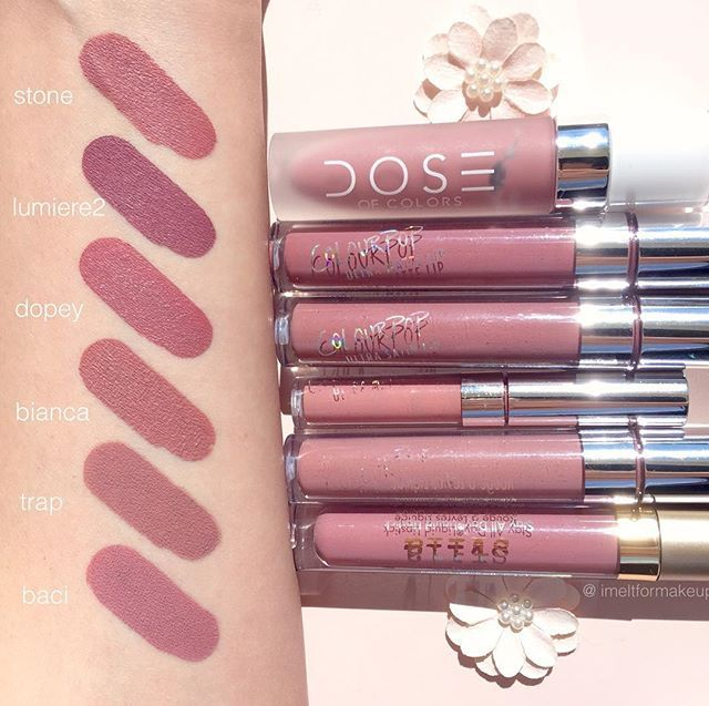 Liquid lipstick swatches for you  dose of colors Stone Colourpop cosmetics Lumiere2 Dopey Bianca (Coming back soon in Full Size! ) Trap Stila cosmetics Baci