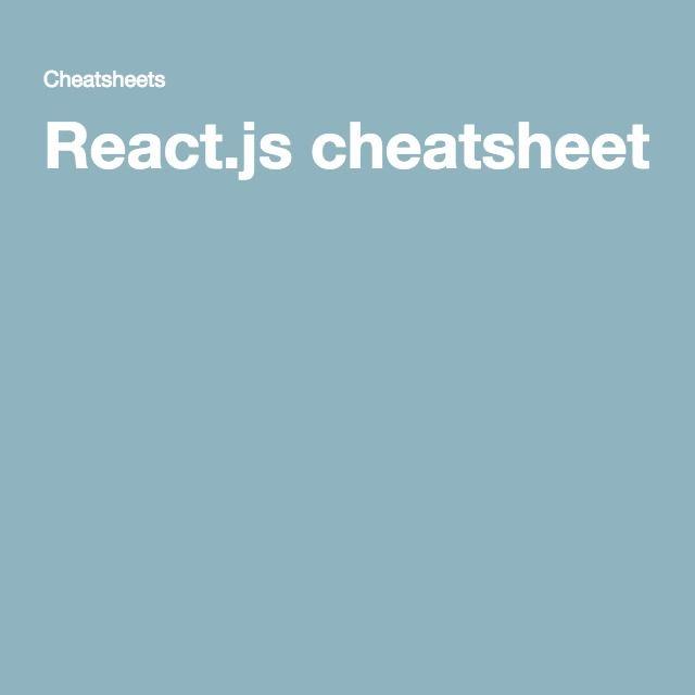 React.js cheatsheet
