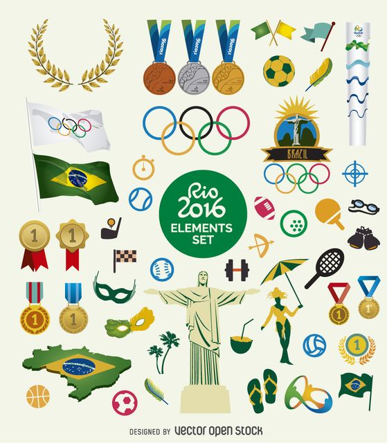 Friendly olympic Games 2016 elements collection. Includes medals, flags, rings…