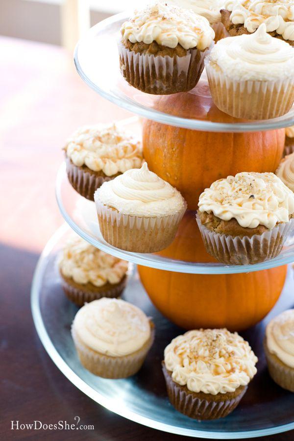 Pumpkin Tiered Cupcake Platter! So cute! #pumpkin #cupcake #platter #howdoesshe