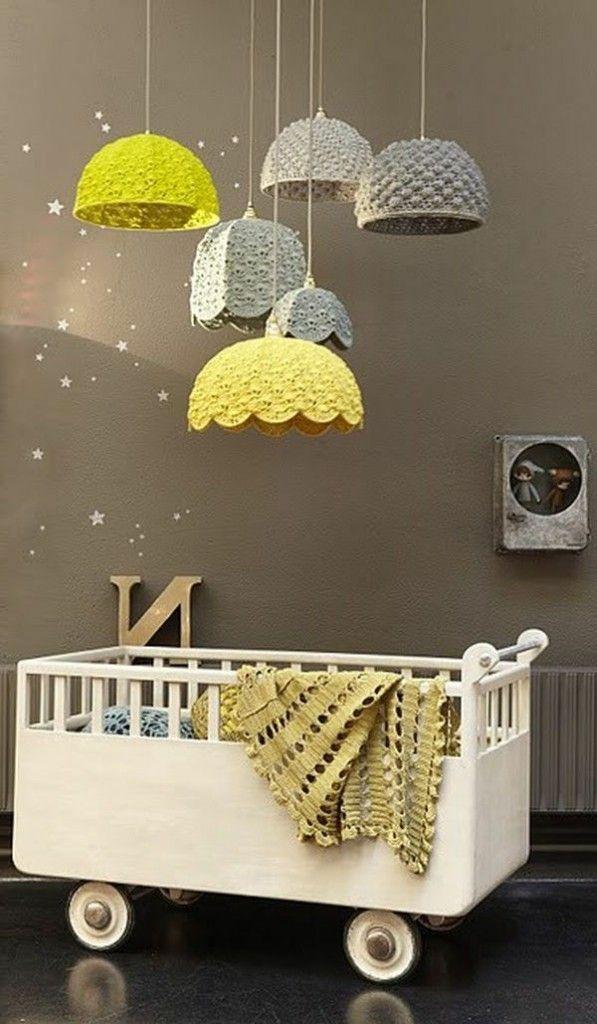 Babyzimmer gestrickt lampenschirme gestalten beispiele gelbe dekoartikel