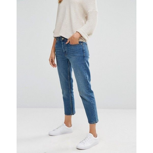 Mango Classic Mom Jeans ($59) ❤ liked on Polyvore featuring jeans, blue, relaxed fit jeans, slim cut jeans, mid-rise jeans, button fly jeans and slim jeans