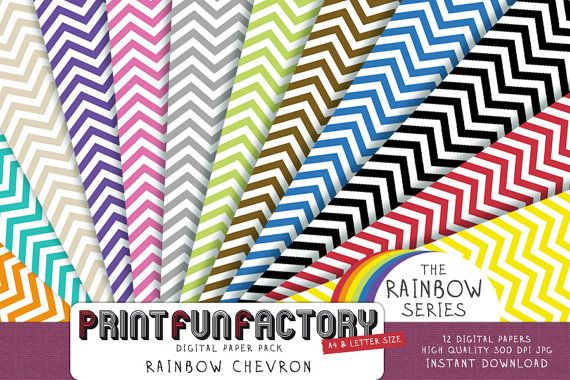 Regenboog Chevron  12 digitale sheets 005 door PrintFunFactory, $4.99
