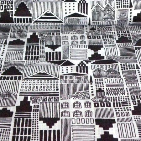 DRAWTOWN, fekete-fehér rajzolt házak mintás pamutvászon