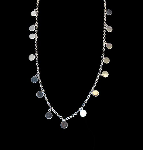"""Payal"" Necklace - 92.5% silver - 14"" Slim silver link chain - Delicately lined with 15 pieces of 6.5mm diameter silver discs - Lobster fastening"