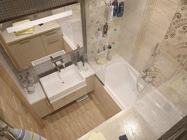 Компактная ванная комната, идея ремонта