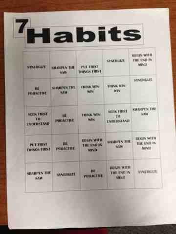 7 Habits Bingo