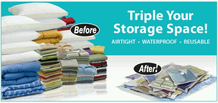 Save storage with vacuum bags ;) smart