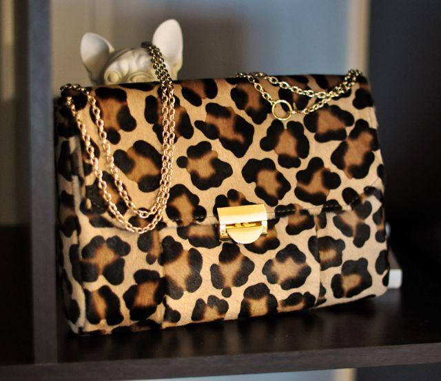 lauren merkin leopard print bag