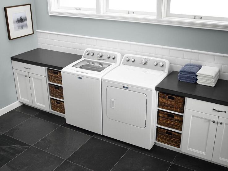 Give your laundry room a clean look with a powerful top-load pair. Shop Maytag appliances with the link in our profile. #Lowes #Appliances #Maytag