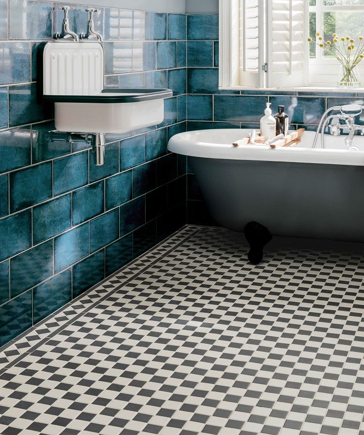 Victorian Black White Chequer Tile Black And White Tiles Bathroom Black And White Bathroom Floor Black Bathroom