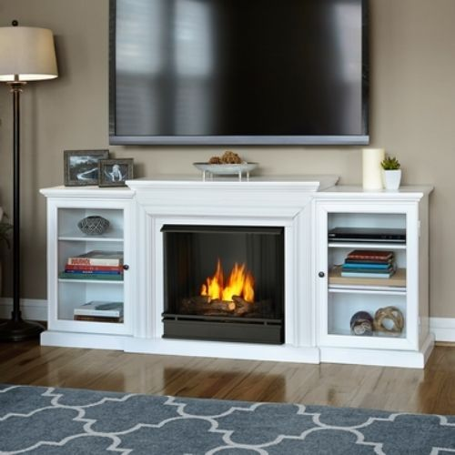 Real Flame Frederick Gel Fireplace Media Console-White