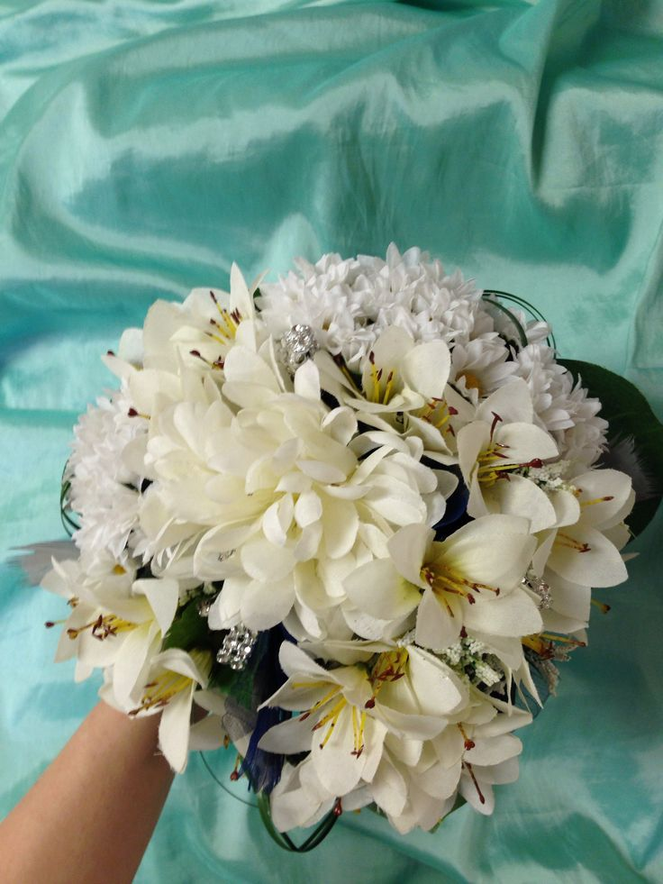Blue white & silver bouquet PROM 2014 | Prom bouquets ...