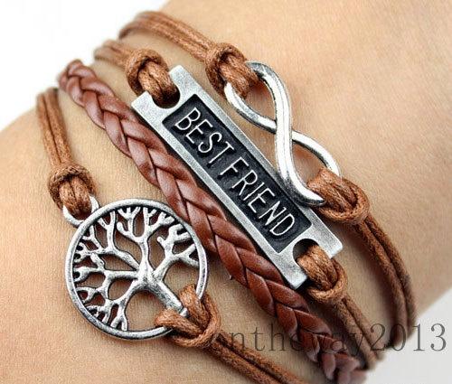 Best friend bracelet,friendship bracelet,infinity bracelet,wish tree bracelet,braid leather bracelet.