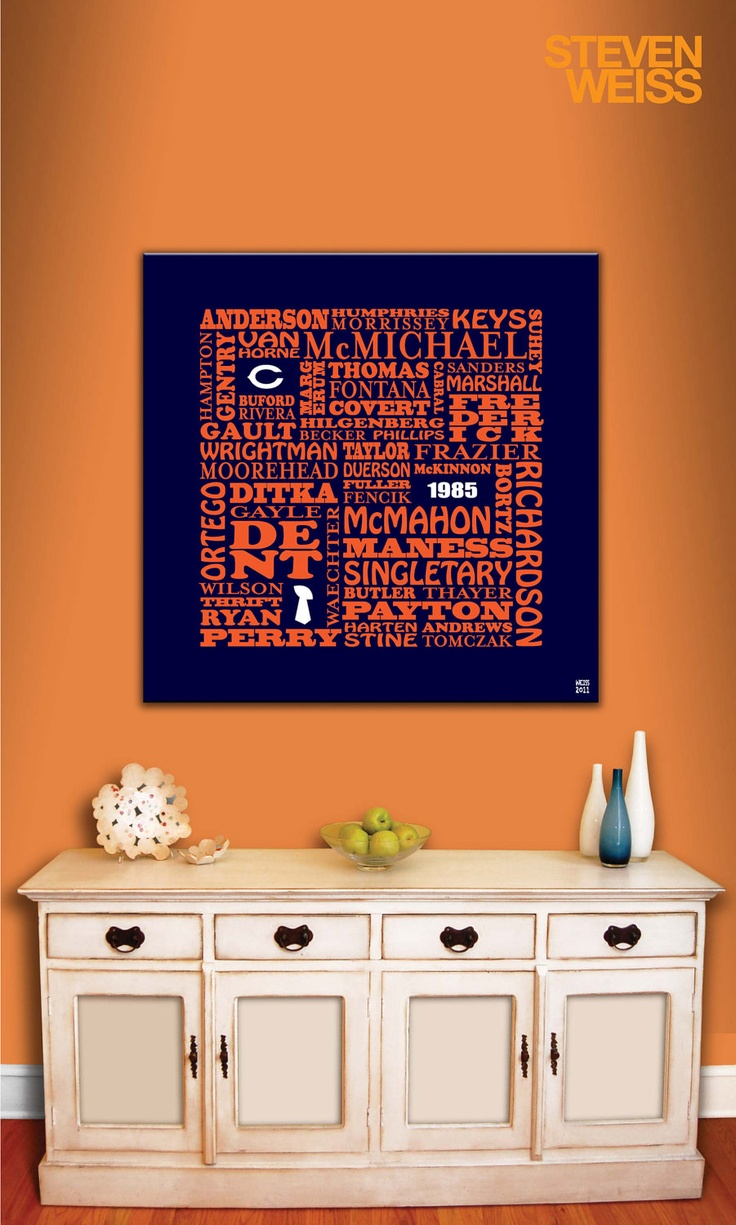 309 best chicago bears everything images on pinterest bears typographic painting on canvas 1985 chicago bears 24 x 24 amipublicfo Choice Image
