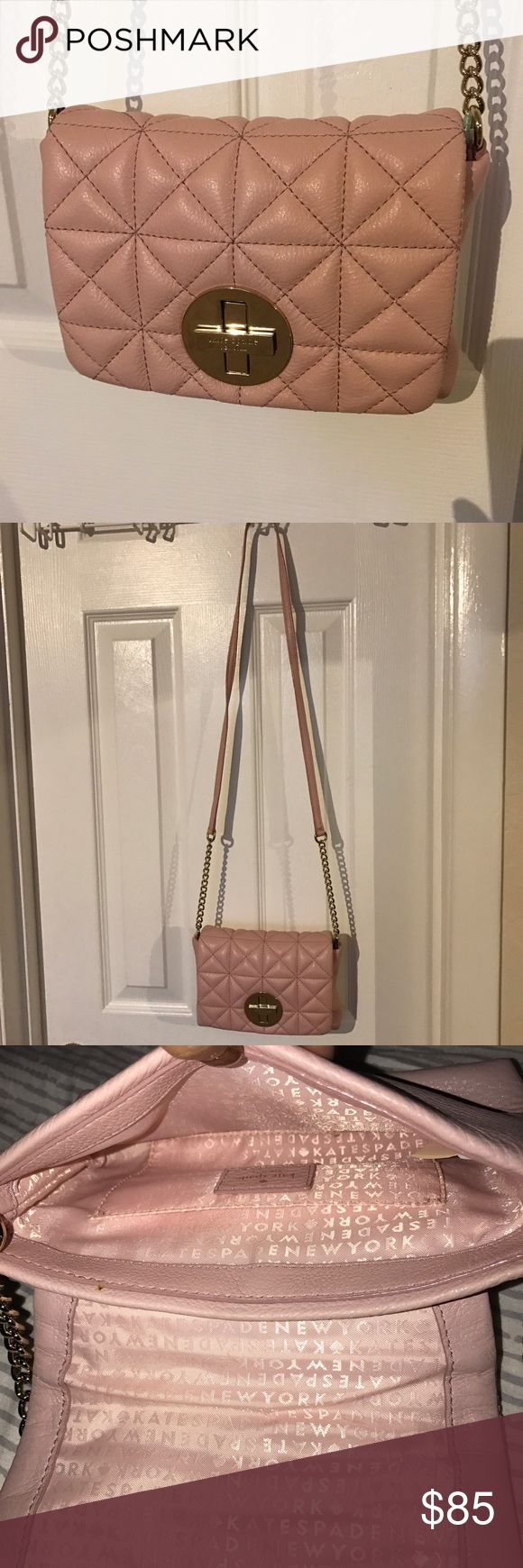Pink Quilted Kate Spate Cross Body Bag Perfect condition Kate spade crossbody. Slightly used. Beautiful pale pink. Golden hardware and quilted detailing. Natural scratching on the clasp from opening the bag kate spade Bags Crossbody Bags
