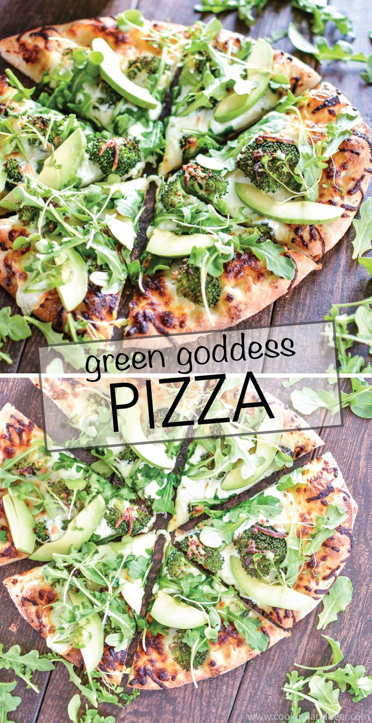 Green goddess pizza is a quick weeknight dinner recipe using pantry staples and Hidden Valley's Avocado Ranch! #WhatsYourRanch | www.cookingandbeer.com