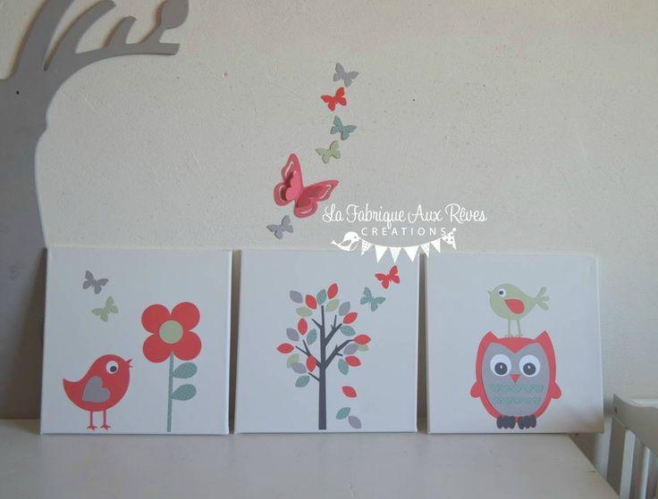 tableaux cadres décoratifs bébé enfant arbre hibou oiseaux mint vert d'eau corail gris - décoration chambre bébé corail vert d'eau gris papillons nichoirs oiseaux